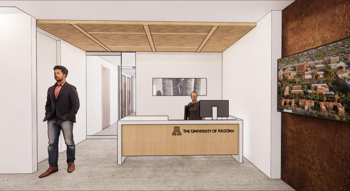 Illustrated rendering of the reception desk in the DC center